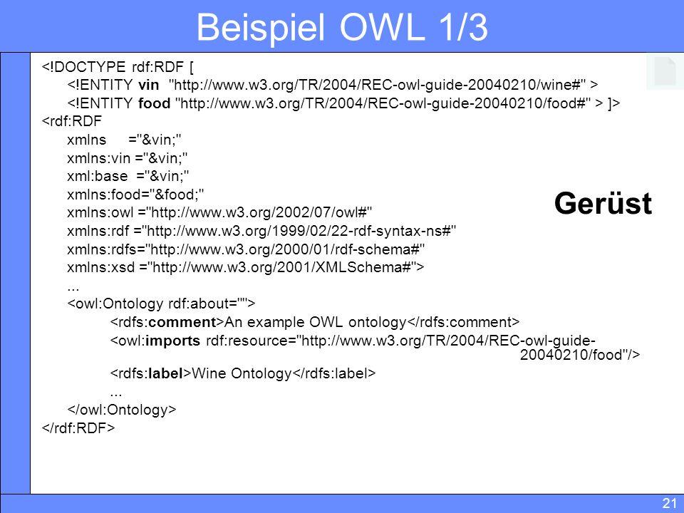 Beispiel OWL 1/3 Gerüst <!DOCTYPE rdf:RDF [